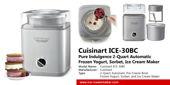 Cuisinart ICE-30BC Pure Indulgence 2-Quart Automatic Frozen Yogurt, Sorbet, and Ice Cream Maker Review